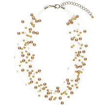 Buy John Lewis Multi Strand Faux Small Pearl Bead Illusion Necklace, Gold Online at johnlewis.com