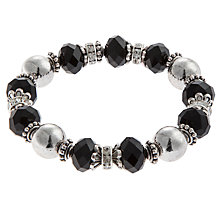 Buy John Lewis Facet Bead and Pearl Stretch Bracelet, Grey Online at johnlewis.com