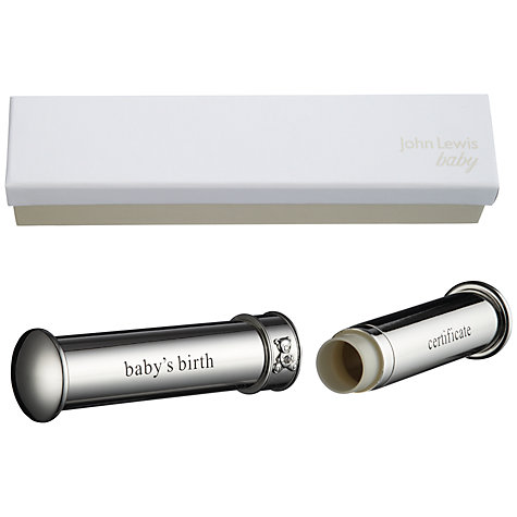 Buy John Lewis Birth Certificate Holder, Silver Online at johnlewis.com