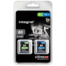 Buy Integral Ultima SDHC Class 10 Memory Card, 16GB + 8GB, up to 20MB/s Online at johnlewis.com