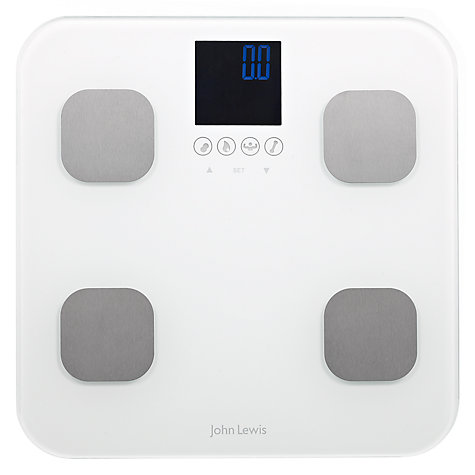 Buy John Lewis Body Analyser Bathroom Scale, Glass, White Online at johnlewis.com