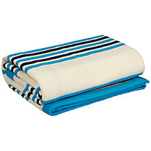 Buy John Lewis Baby Striped Knitted Blanket, Turquoise Online at johnlewis.com