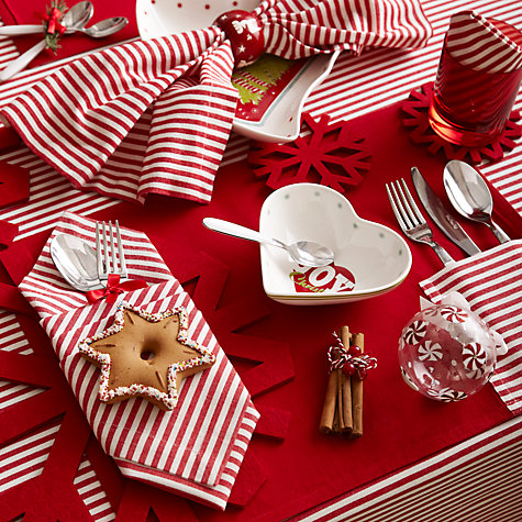 Buy John Lewis Holiday Fine Stripe Napkins, Set of 4 Online at johnlewis.com