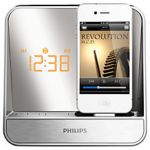 Buy Philips AJ5300D FM Clock Radio iPod Dock, Silver Online at johnlewis.com