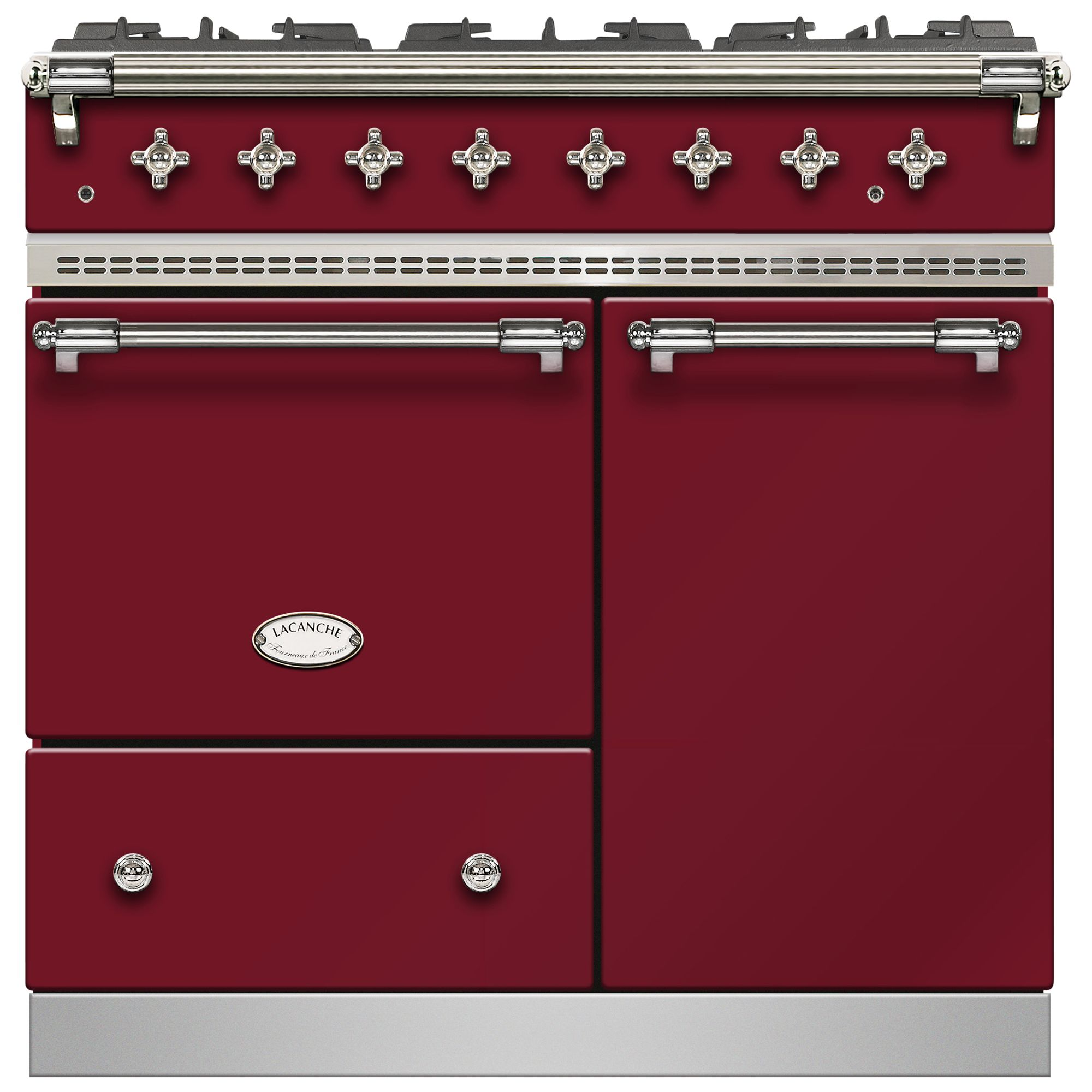 Lacanche Lacanche Beaune LG962GCTDRBCHA Dual Fuel Range Cooker, Burgundy Red / Chrome Trim