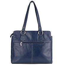 Buy John Lewis Leather Shopper Handbag, Navy Online at johnlewis.com