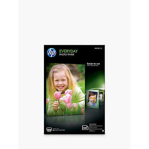 Buy HP CR757A Everyday Photo Printer Paper, White, 10 x 15cm, 100 Sheets Online at johnlewis.com