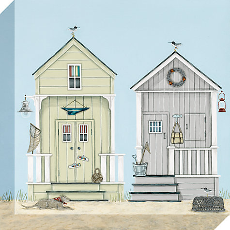 Buy Sally Swannell - Beach Huts Print on Canvas, 30 x 30cm Online at johnlewis.com