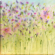 Buy Sue Fenlon - Buttercup And Laven Print on Canvas, 90 x 90cm Online at johnlewis.com