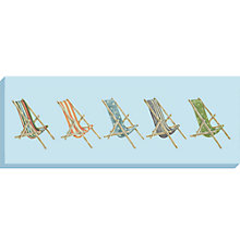 Buy Sally Swannell - Deckchairs Print on Canvas, 36 x 97cm Online at johnlewis.com