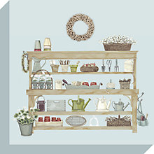 Buy Sally Swannell - Potting Bench Print on Canvas, 30 x 30cm Online at johnlewis.com