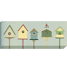 Buy Sally Swannell - Row Of Bird Houses Print on Canvas, 36 x 97cm Online at johnlewis.com