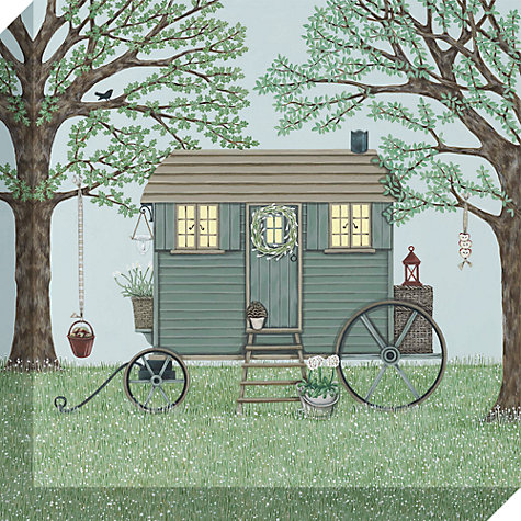 Buy Sally Swannell - Shepherd's Hut Print on Canvas, 30 x 30cm Online at johnlewis.com