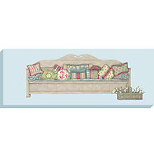 Buy Sally Swannell - Sofa With Cushions Print On Canvas - 36 x 97cm Online at johnlewis.com