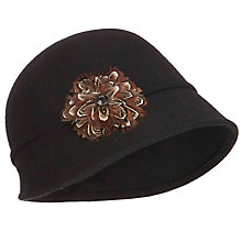 Buy John Lewis Feather Embellished Cloche Hat, Black Online at johnlewis.com