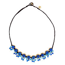Buy One Button Multi Bead and Bell Cord Necklace, Blue Online at johnlewis.com