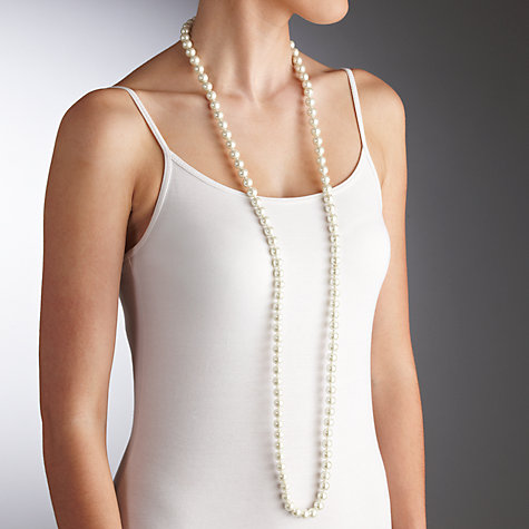 Buy John Lewis Single Extra Long Pearl Necklace, White Online at johnlewis.com