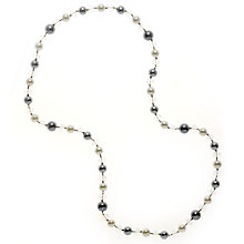 Buy John Lewis Imitation Pearl Long Necklace, Grey/White Online at johnlewis.com