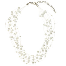 Buy John Lewis Small Faux Pearl Bead Illusion Necklace, White Online at johnlewis.com