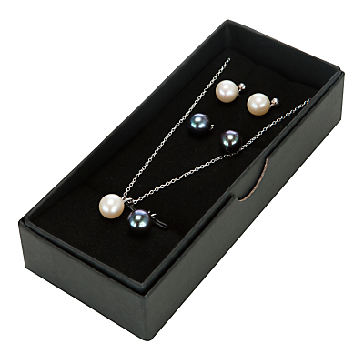 A B Davis Sterling Silver Black and White Freshwater Pearl Pendant and Stud Earrings Set