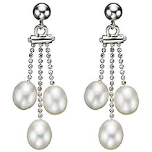 Buy A B Davis Sterling Silver Triple Pearl Drop Earrings, White Online at johnlewis.com