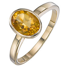 Buy A B Davis 9ct Yellow Gold Gemstone Oval Ring Online at johnlewis.com
