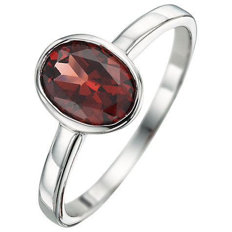 Buy A B Davis 9ct White Gold Gemstone Oval Rubover Ring Online at johnlewis.com