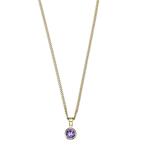 Buy A B Davis 9ct Yellow Gold Rubover Gemstone Pendant Necklace Online at johnlewis.com