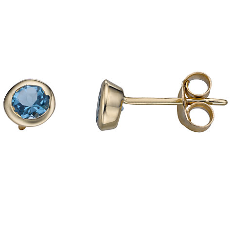 Buy A B Davis 9ct Yellow Gold Round Gemstone Rubover Stud Earrings Online at johnlewis.com