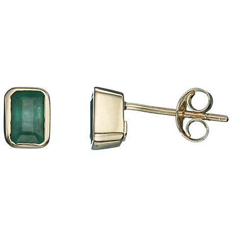 Buy A B Davis 9ct Yellow Gold Octagonal Gemstone Stud Earrings Online at johnlewis.com