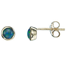 Buy A B Davis 9ct Yellow Gold Gemstone Rubover Stud Earrings Online at johnlewis.com