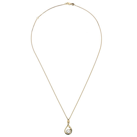 Buy A B Davis 9ct Yellow Gold Cultured Pearl Tear Drop Pendant Necklace, White Online at johnlewis.com