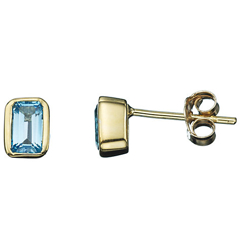 Buy A B Davis 9ct Yellow Gold Octagonal Gemstone Rubover Stud Earrings Online at johnlewis.com