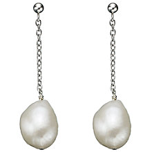 Buy A B Davis Sterling Silver Chain Freshwater Pearl Drop Earrings Online at johnlewis.com