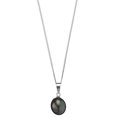 Buy A B Davis Cultured River Baroque Pearl Pendant Necklace, Black/Silver Online at johnlewis.com
