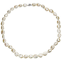 Buy A B Davis Sterling Silver White Freshwater Baroque Pearl Necklace Online at johnlewis.com