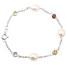 Buy A B Davis Sterling Silver White Freshwater Pearl Multi Gemstone Bracelet Online at johnlewis.com