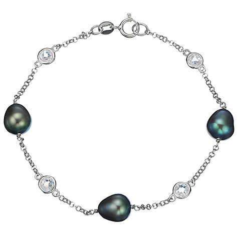 Buy A B Davis Sterling Silver Freshwater Pearl and Cubic Zirconia Bracelet Online at johnlewis.com