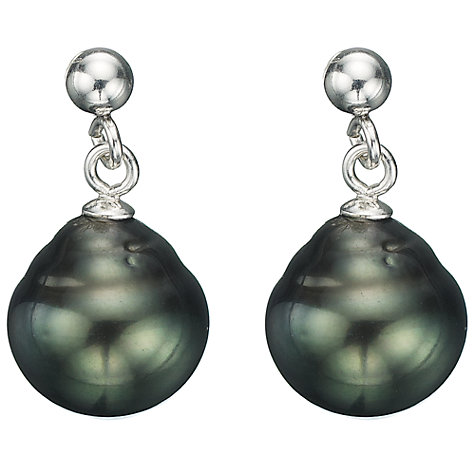 Buy A B Davis Sterling Silver Small Tahitian Pearl Drop Earrings Online at johnlewis.com