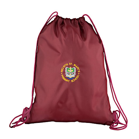 Buy Welwyn St Mary's Primary School Gym Bag, Maroon Online at johnlewis.com