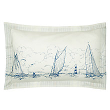Buy Joules Coastal Boat Oxford Pillowcase, Blue Online at johnlewis.com