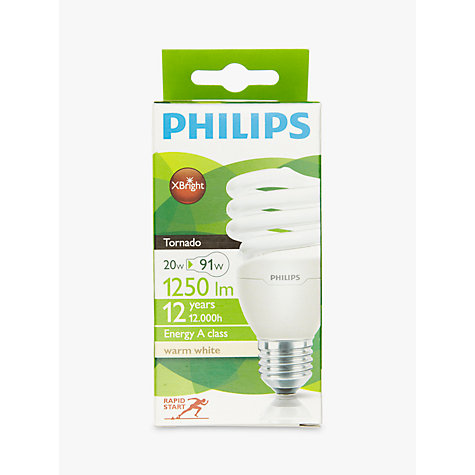 Buy Philips 20W CFL Energy Saving Spiral Bulb, Opal Online at johnlewis.com