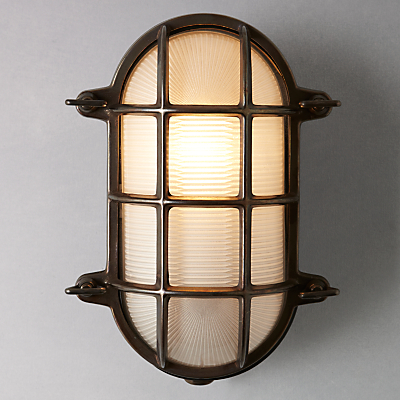 Davey Lighting Bulkhead Weathered Wall Light, Brass