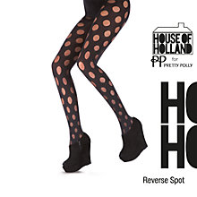 Buy Henry Holland Reverse Polka Tights, Black Online at johnlewis.com