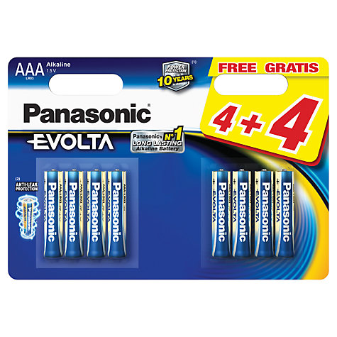 Buy Panasonic Evolta LR03EGE AAA Alkaline Batteries, 8 Pack Online at johnlewis.com