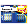 Panasonic Evolta LR6EGE AA Batteries, Pack of 4 + 4 Free