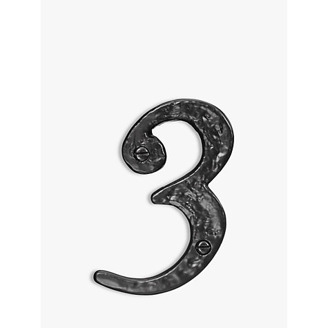 Buy John Lewis Wrought Iron Door 3 Numeral, Black Online at johnlewis.com