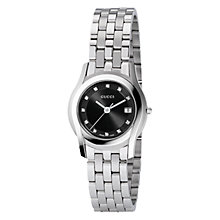 Buy Gucci YA055504 Women's G-Class Black Round Dial Bracelet Strap Watch, Silver Online at johnlewis.com