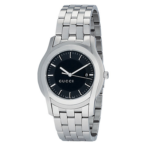 Buy Gucci YA055211 Men's G-Class Black Dial Steel Bracelet Watch, Silver Online at johnlewis.com