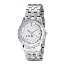 Buy Gucci YA055212 Men's G-Class White Dial Steel Bracelet Watch, Silver Online at johnlewis.com